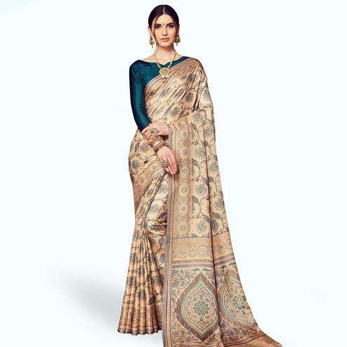 Hypnotic Beige Colored Casual Printed Manipuri Silk Saree
