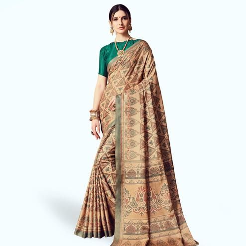 Flattering Beige Colored Casual Printed Manipuri Silk Saree