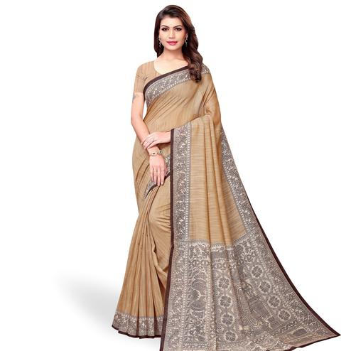 Amazing Light Brown Colored Casual Printed Art Silk Saree