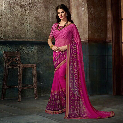 Stunning Pink Printed Casual Wear Marble Georgette Saree