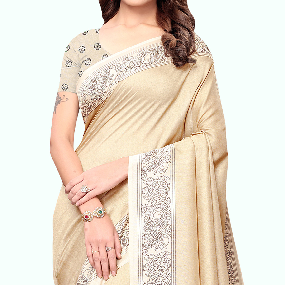 Gorgeous Cream Colored Casual Printed Art Silk Saree