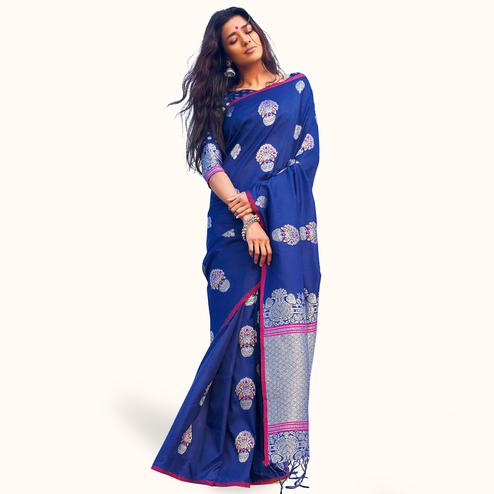 Excellent Navy Blue Colored Festive Wear Woven Silk Saree