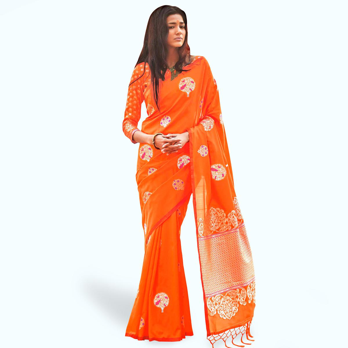 Preferable Orange Colored Festive Wear Woven Silk Saree