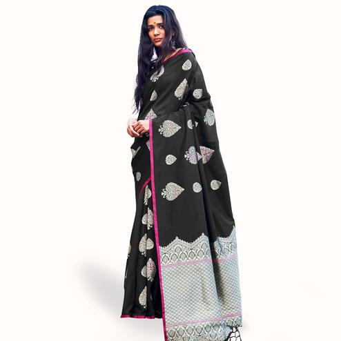 Marvellous Black Colored Festive Wear Woven Silk Saree