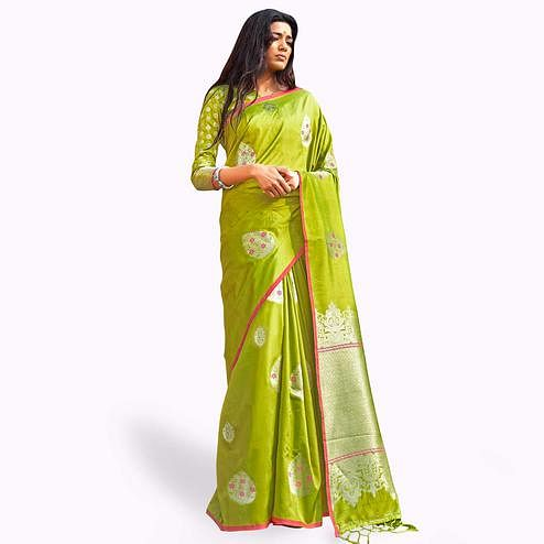 Flamboyant Lemon Green Colored Festive Wear Woven Silk Saree