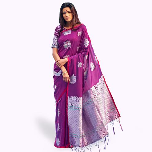 Pretty Purple Colored Festive Wear Woven Silk Saree