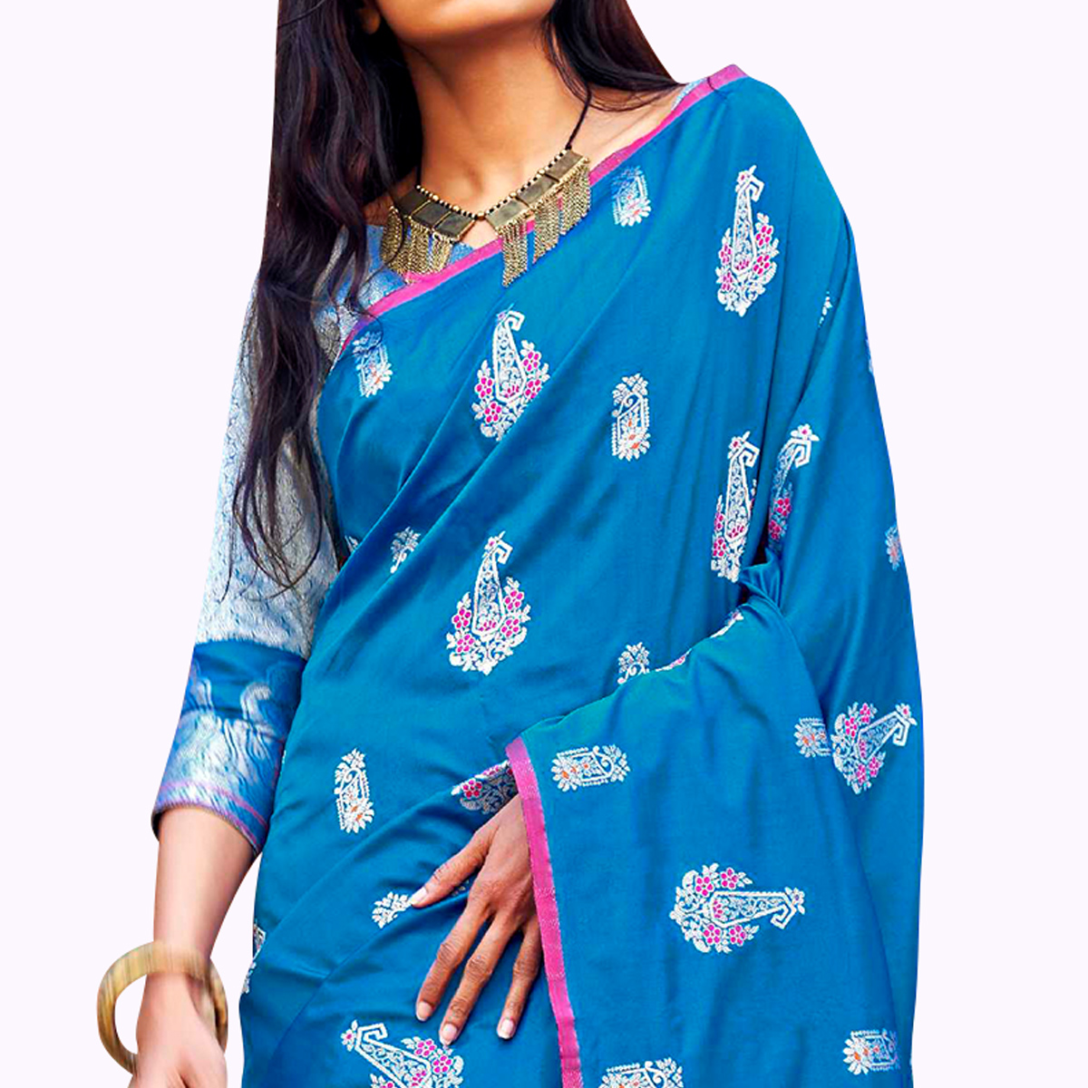Alluring Blue Colored Festive Wear Woven Silk Saree