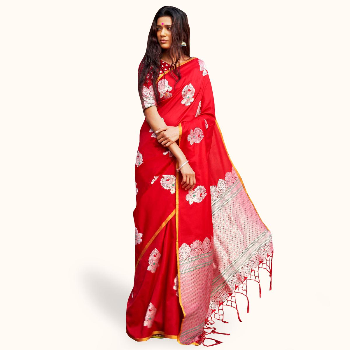 Sensational Red Colored Festive Wear Woven Silk Saree