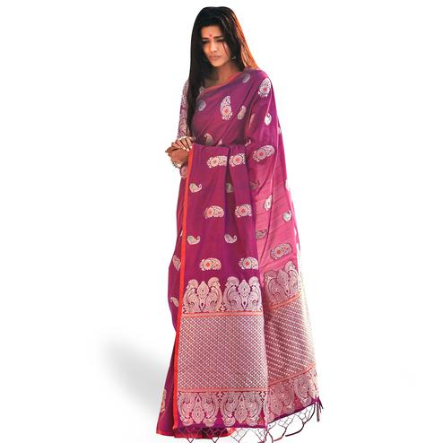 Flaunt Light Wine Colored Festive Wear Woven Silk Saree