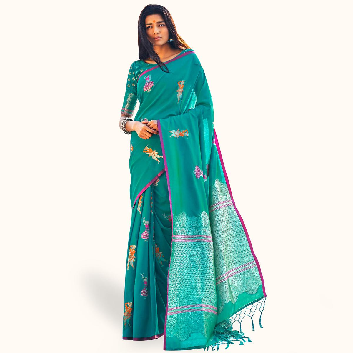 Stunning Turquoise Green Colored Festive Wear Woven Silk Saree
