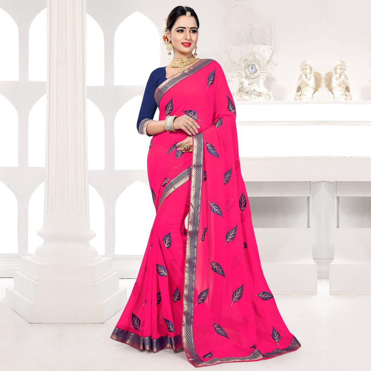 Gajri Embroidered Partywear Georgette Saree