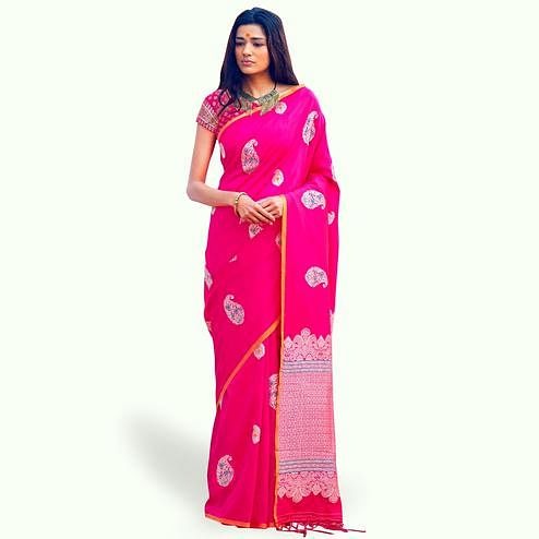 Flirty Hot Pink Colored Festive Wear Woven Silk Saree