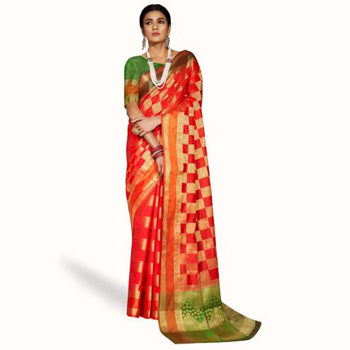 Hypnotic Red Colored Festive Wear Woven Silk Saree