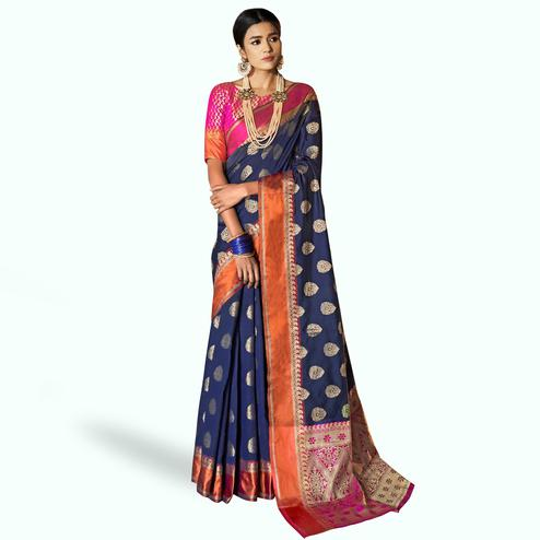Flattering Navy Blue Colored Festive Wear Woven Silk Saree