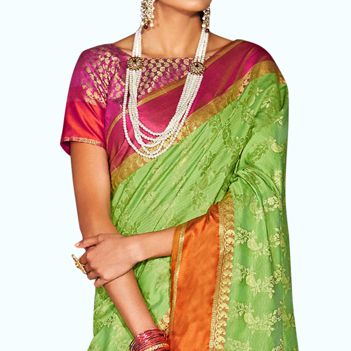 Excellent Green Colored Festive Wear Woven Silk Saree