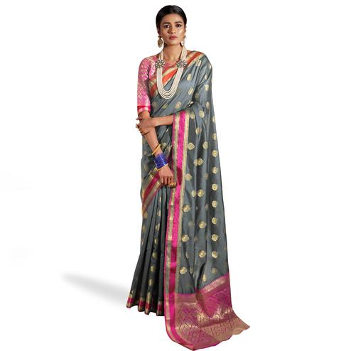 Pleasant Gray Colored Festive Wear Woven Silk Saree