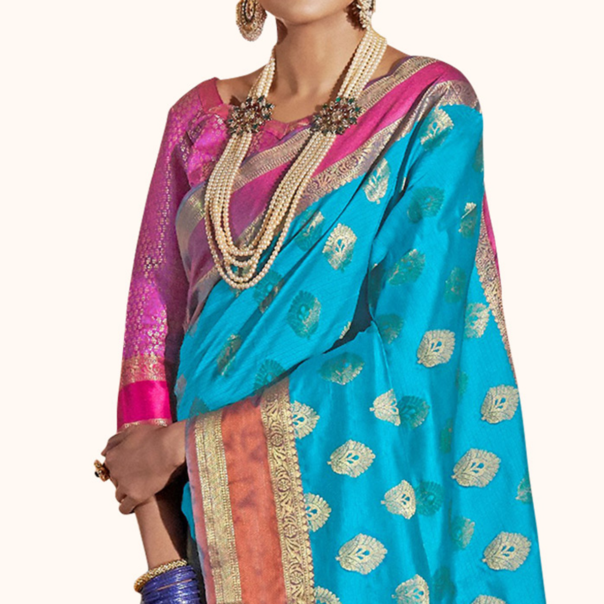 Energetic Sky Blue Colored Festive Wear Woven Silk Saree