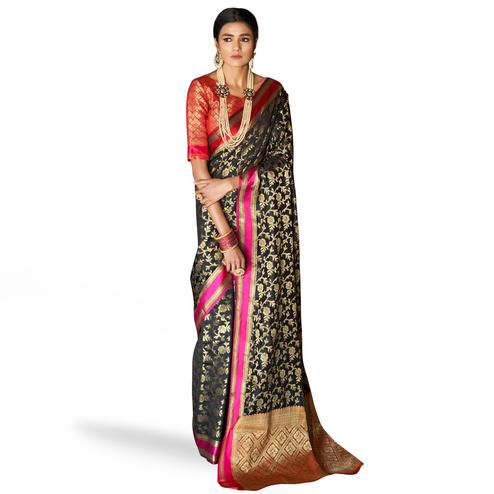 Radiant Black Colored Festive Wear Woven Silk Saree