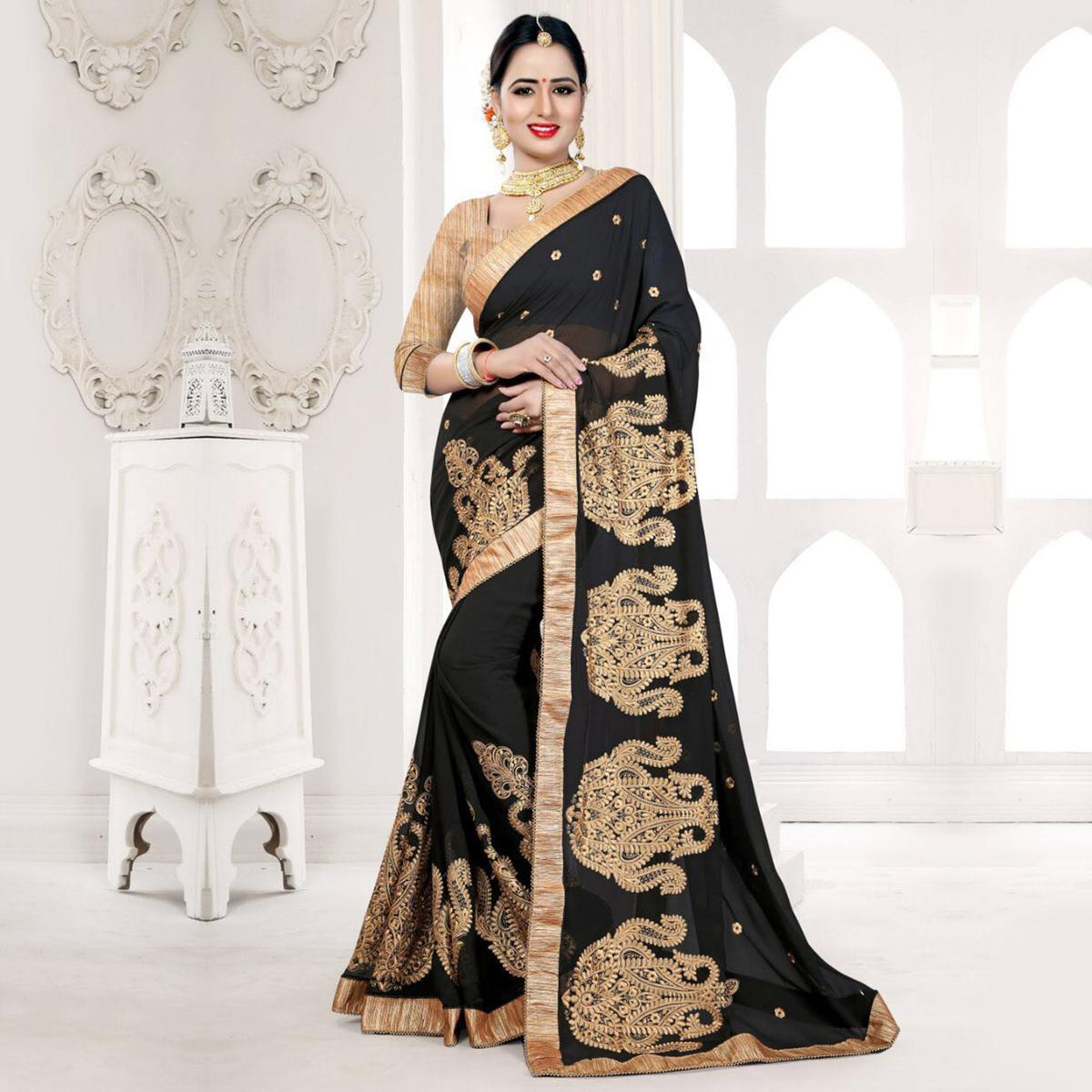 Stunning Black Embroidered Partywear Georgette Saree