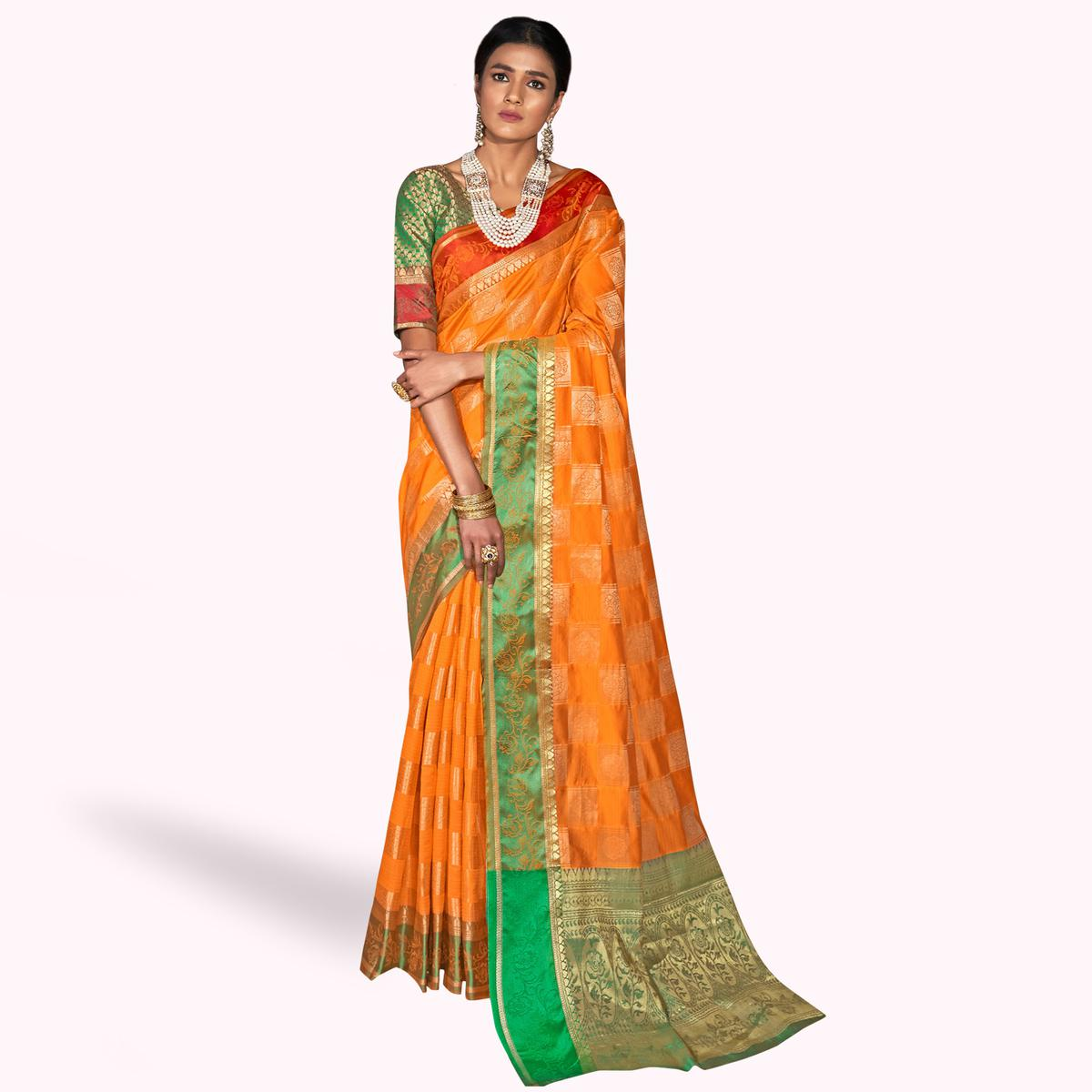 Elegant Orange Colored Festive Wear Woven Silk Saree