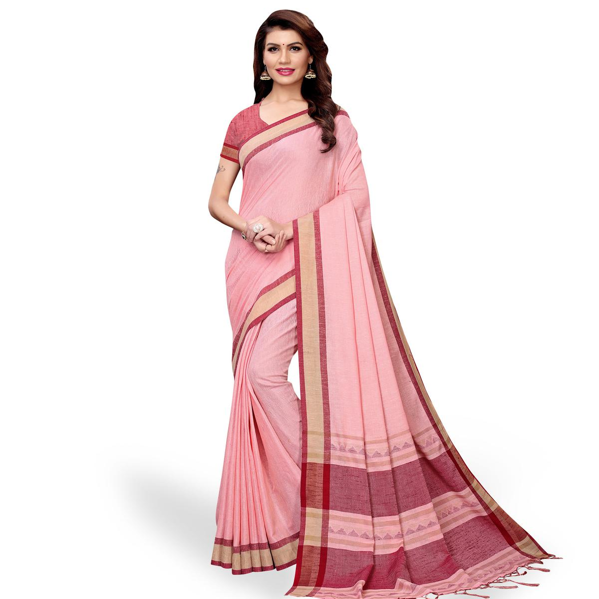 Jazzy Pink Colored Casual Wear Linen Saree