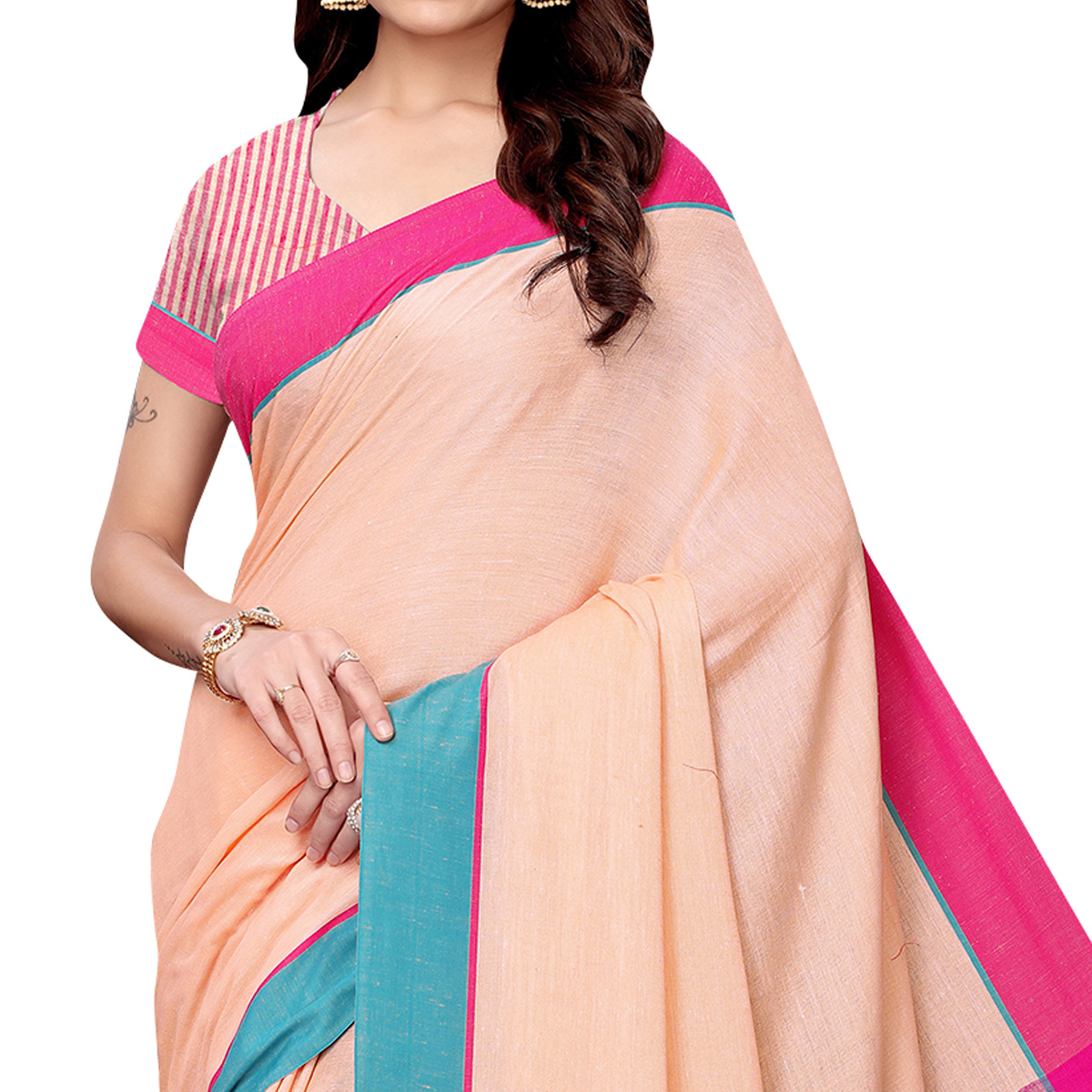 Delightful Peach Colored Casual Wear Linen Saree