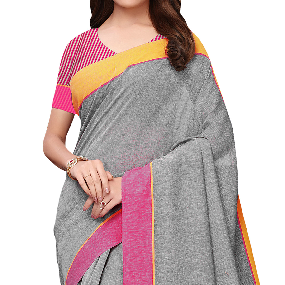 Engrossing Gray Colored Casual Wear Linen Saree