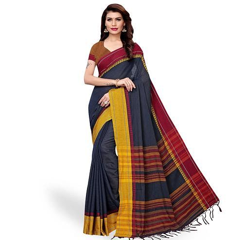 Captivating Navy Blue Colored Casual Wear Linen Saree