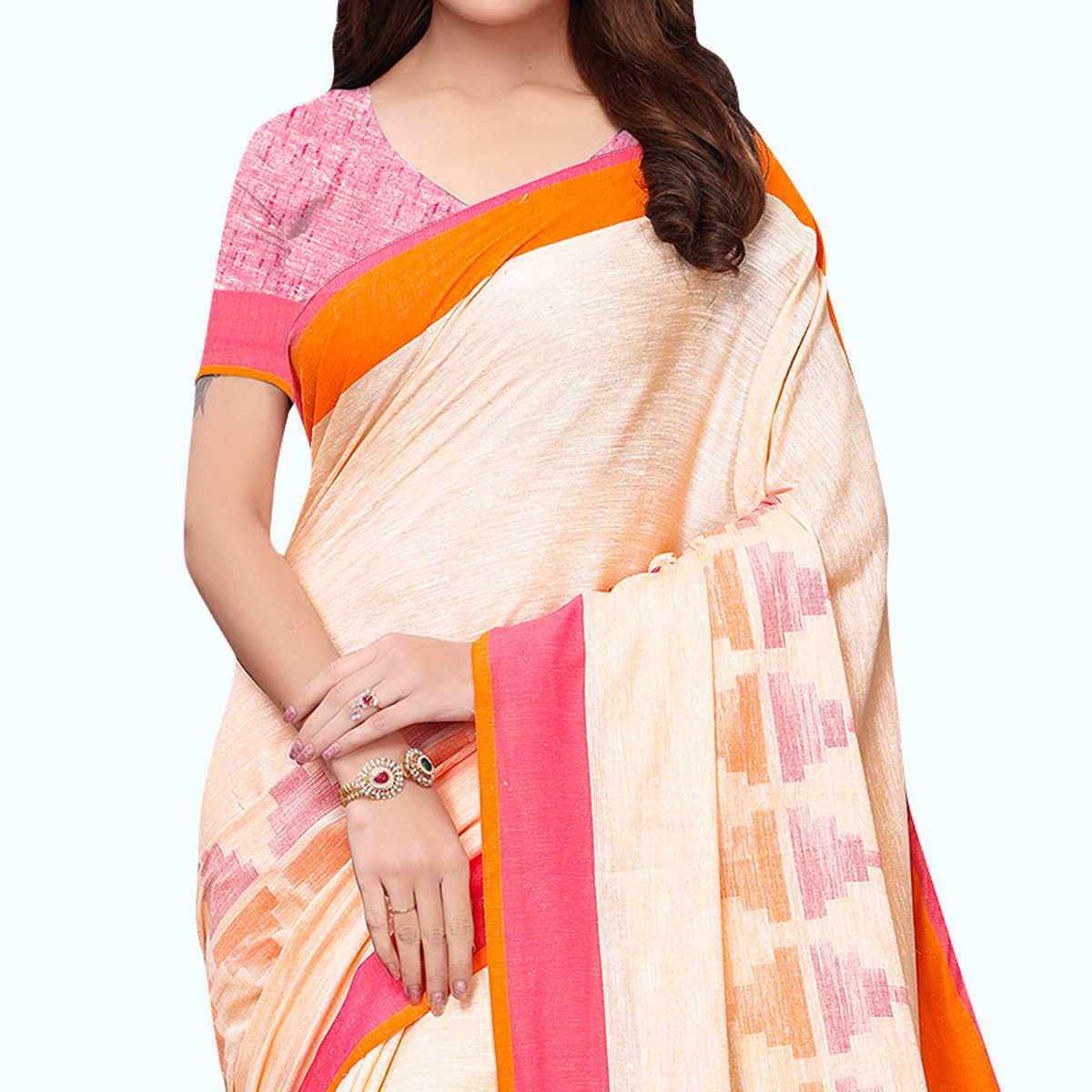 Innovative Off-White Colored Casual Printed Wear Linen Saree
