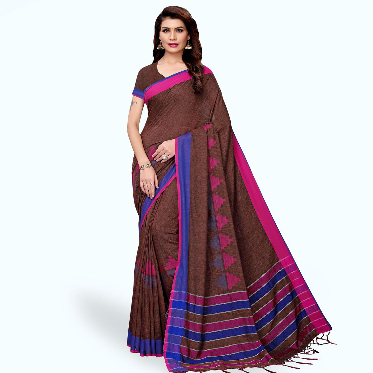 Eye-catching Brown Colored Casual Printed Wear Linen Saree