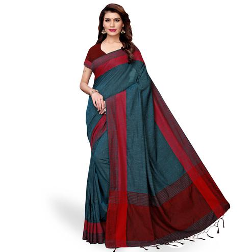 Fantastic Teal Blue Colored Casual Wear Linen Saree