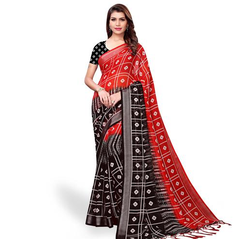 Blissful Red-Black Colored Casual Printed Linen Saree