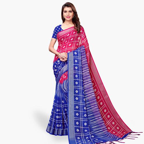 Ideal Pink-Blue Colored Casual Printed Linen Saree