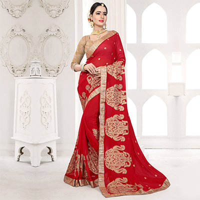 Hot Red Embroidered Partywear Georgette Saree