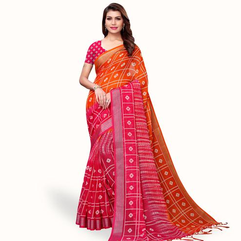 Imposing Orange-Pink Colored Casual Printed Linen Saree