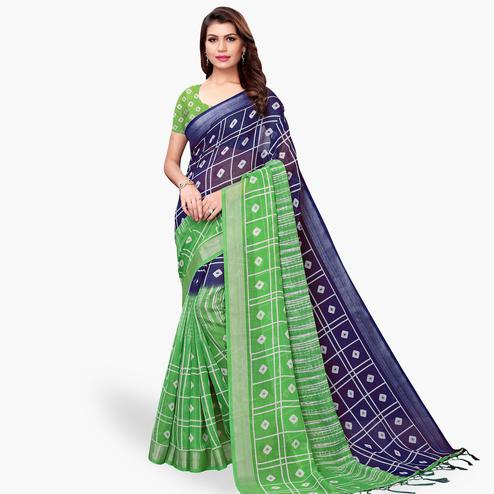 Lovely Navy Blue-Green Colored Casual Printed Linen Saree