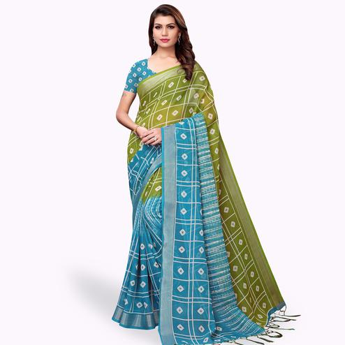 Majesty Green-Blue Colored Casual Printed Linen Saree