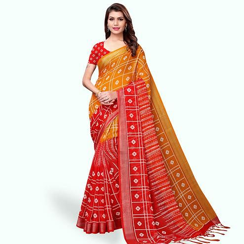 Mesmerising Orange-Red Colored Casual Printed Linen Saree
