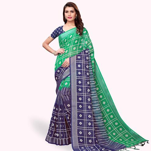 Impressive Green-Navy Blue Colored Casual Printed Linen Saree