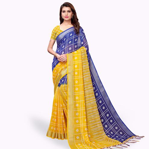 Pleasance Navy Blue-Yellow Colored Casual Printed Linen Saree
