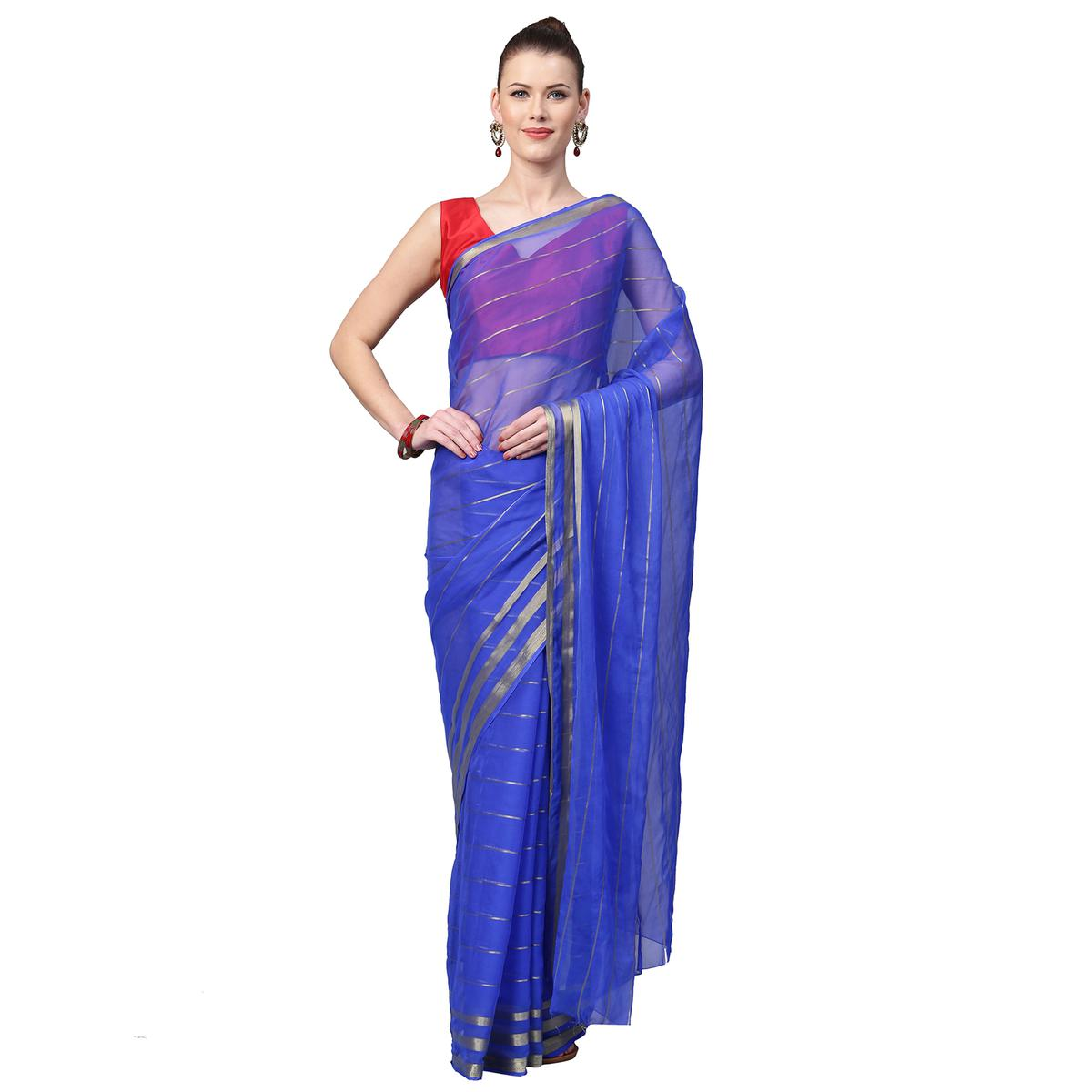 Hypnotic Blue Colored Partywear Georgette Saree