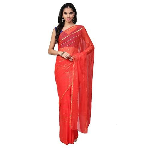 Flattering Red Colored Partywear Georgette Saree
