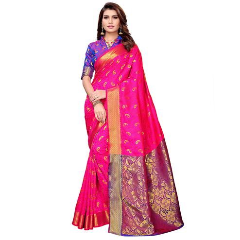 Attractive Hot Pink Colored Festive Wear Woven Silk Saree
