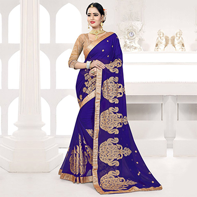 Beautiful Navy Embroidered Partywear Georgette Saree