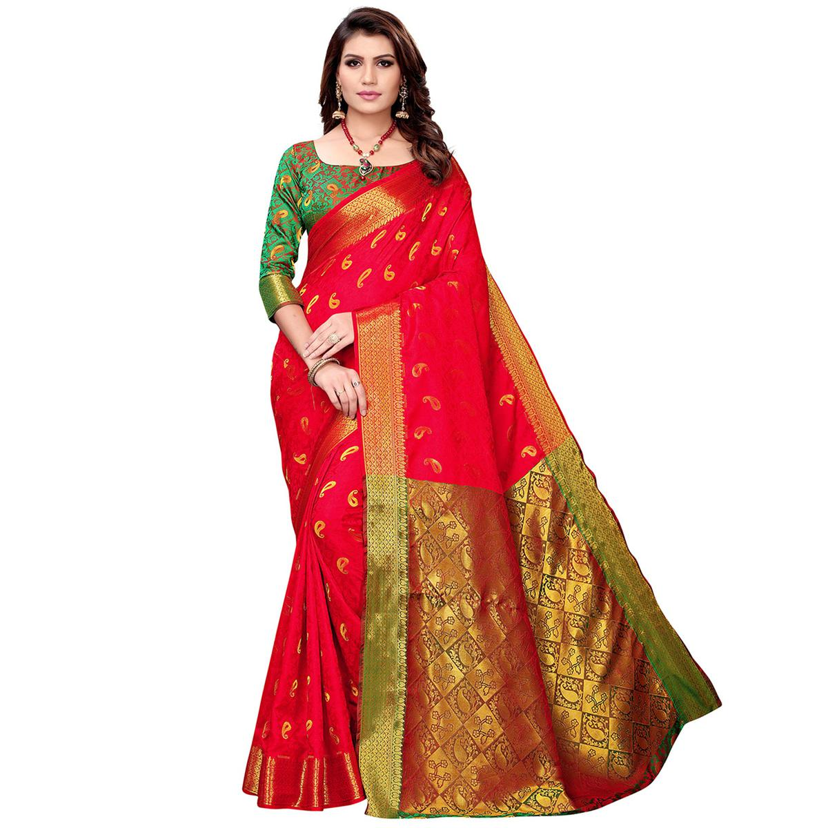 Beautiful Red Colored Festive Wear Woven Silk Saree
