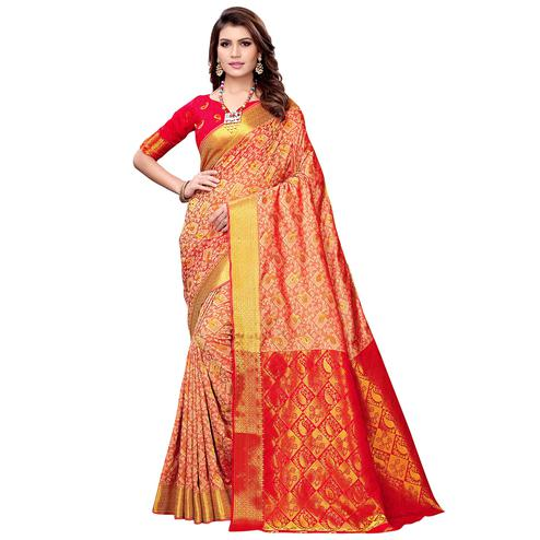 Blooming Coral Red Colored Festive Wear Woven Silk Saree