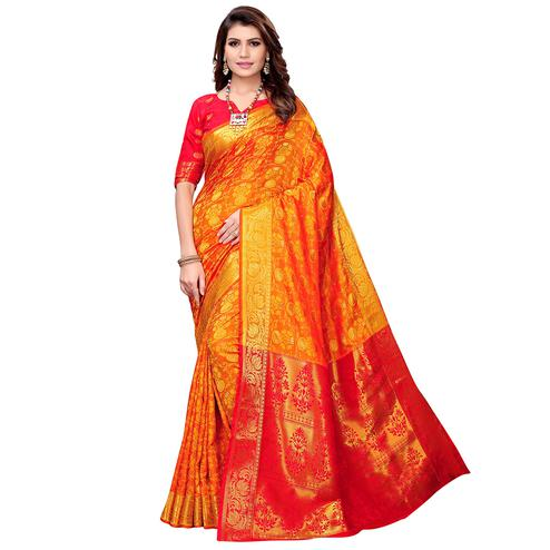 Charming Orange Colored Festive Wear Woven Silk Saree