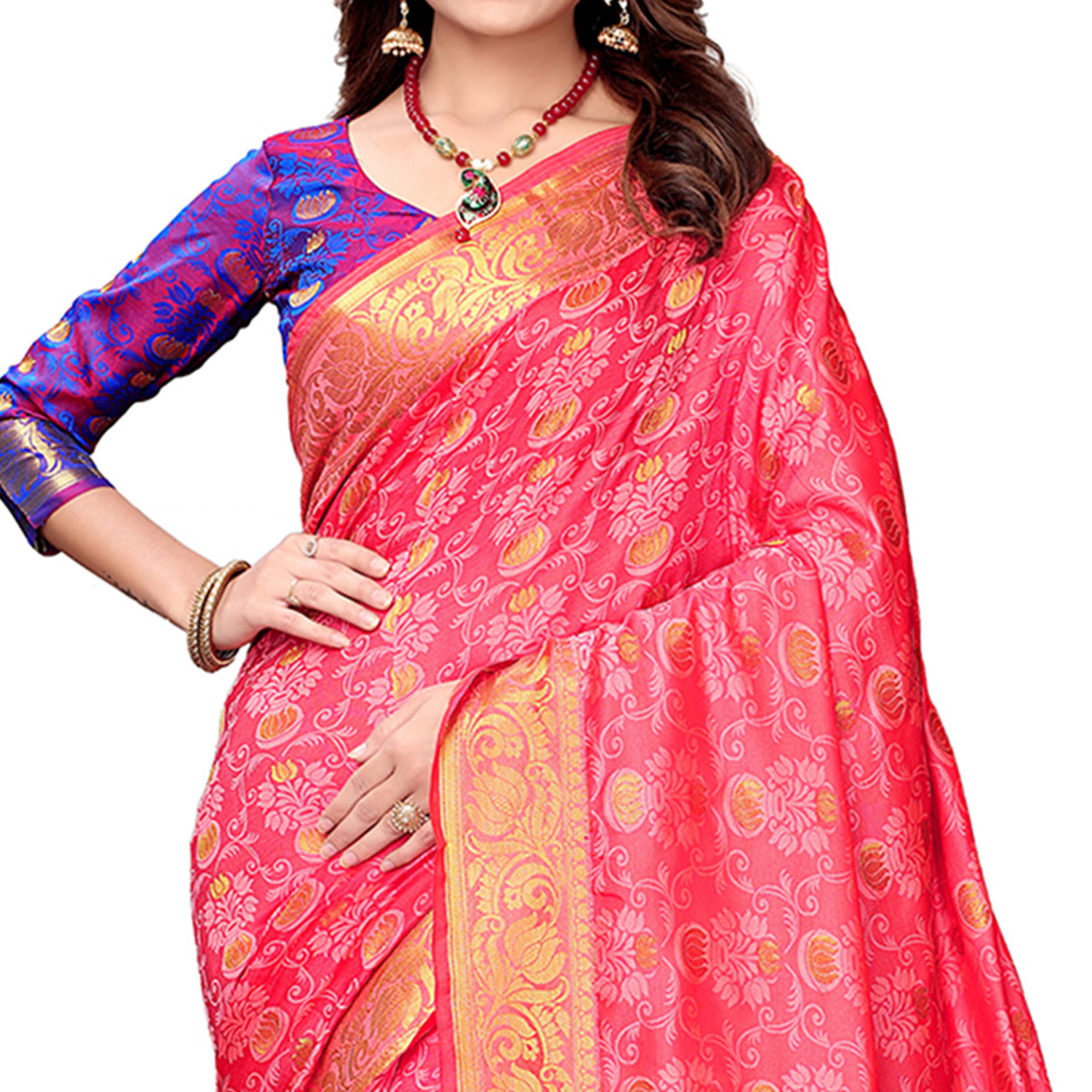 Jazzy Pink Colored Festive Wear Woven Silk Saree