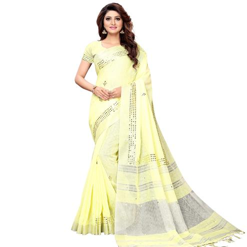 Ravishing Lemon Yellow Colored Festive Wear Linen Saree
