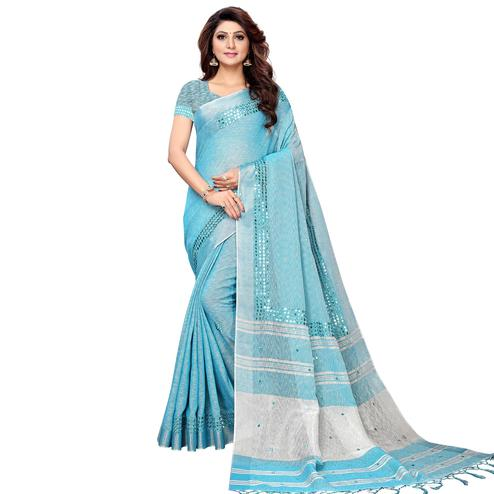 Staring Sky Blue Colored Festive Wear Linen Saree
